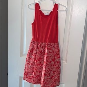 Gap kids red dress with paisley print